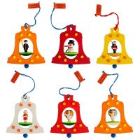 Tree ornaments - Bells with figures, set