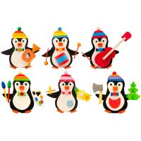 Tree ornaments - Penguin with twine, 6pieces