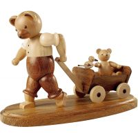 Bear with child on wooden handcart, 10cm