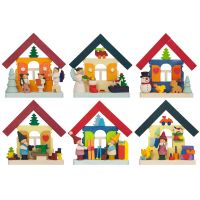 Tree ornaments - Coloured houses, set