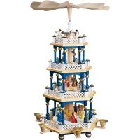 Glässer Pyramid Nativity, blue, 54cm
