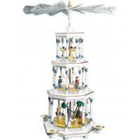 Glässer Pyramid Nativity, white, 76cm